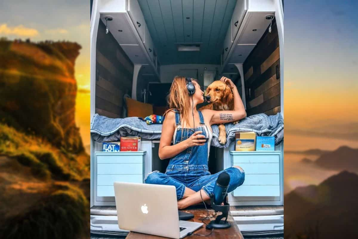 24-годишната Сидни Фербрак живее във фургон със своя голдън ретривър